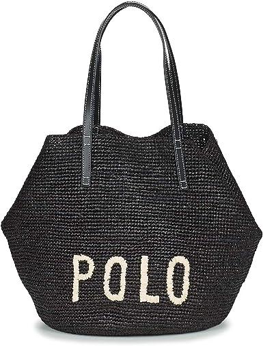 Polo RALPH LAUREN Polo Raffia Bolso Shopping Mujeres Negro - única ...