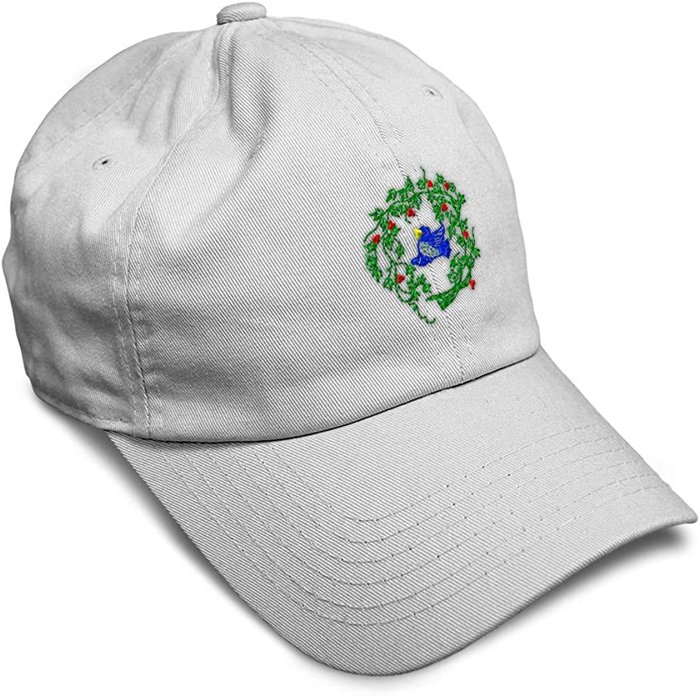 Custom Soft Baseball Cap Blue Bird and Flower Embroidery Twill Cotton