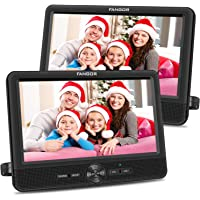FANGOR 10'' Dual Car DVD Player Portable Headrest CD Players with 2 Mounting Brackets, 5 Hours Rechargeable Battery…