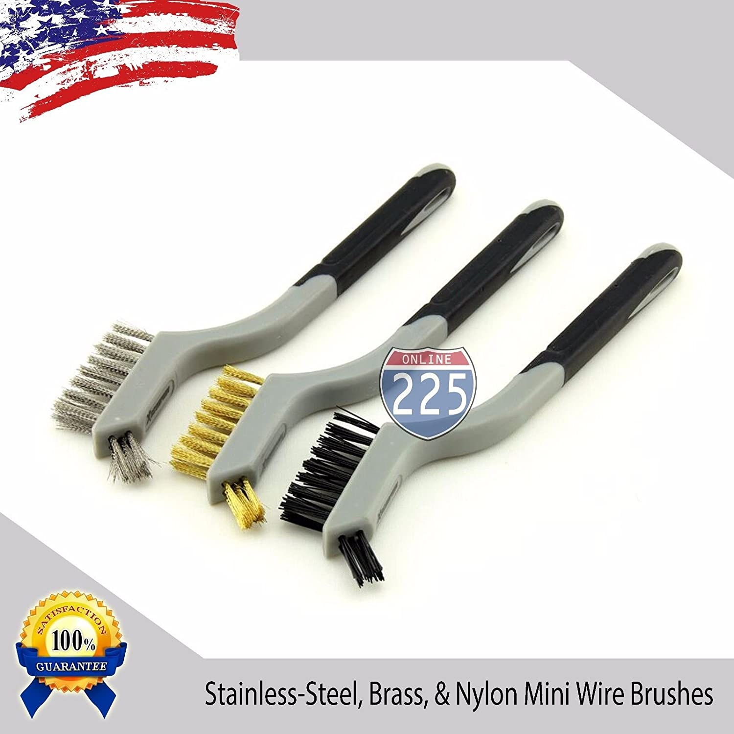 MINI WIRE BRUSH STAINLESS STEEL,BRASS,NYLON CLEANING DETAIL BRUSHES 3 PC