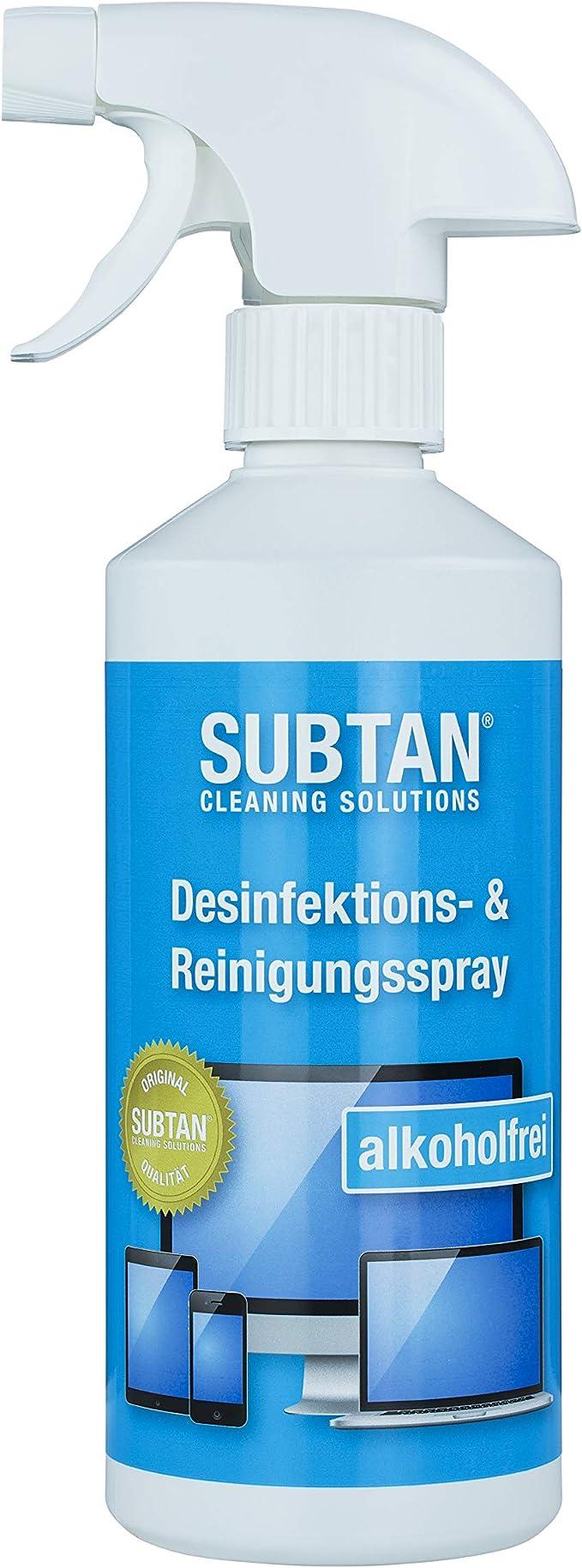 SUBTAN blue - Aerosol desinfectante y limpiador (500 ml, para smartphone, tablet, pantalla táctil, teclado y ratón, desinfecta sin alcohol y limpia ...