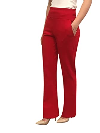 ca0eedf75 OrlyCollection Leg Dress Pant for Women Bootcut Pants with Pocket -Pull On  Style Stretchy Ease in to Comfort Fit Mad in USA at Amazon Women's Clothing  store ...