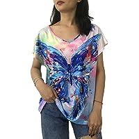 ASCSO Women's Short-Sleeve V-Neck T-Shirt Loose Casual Summer Tee
