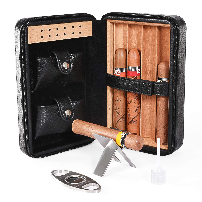 Cigar Humidor, Cigar Case, Cedar Wood Travel Portable Leather Cigar Humidor with Humidifier by CiTree