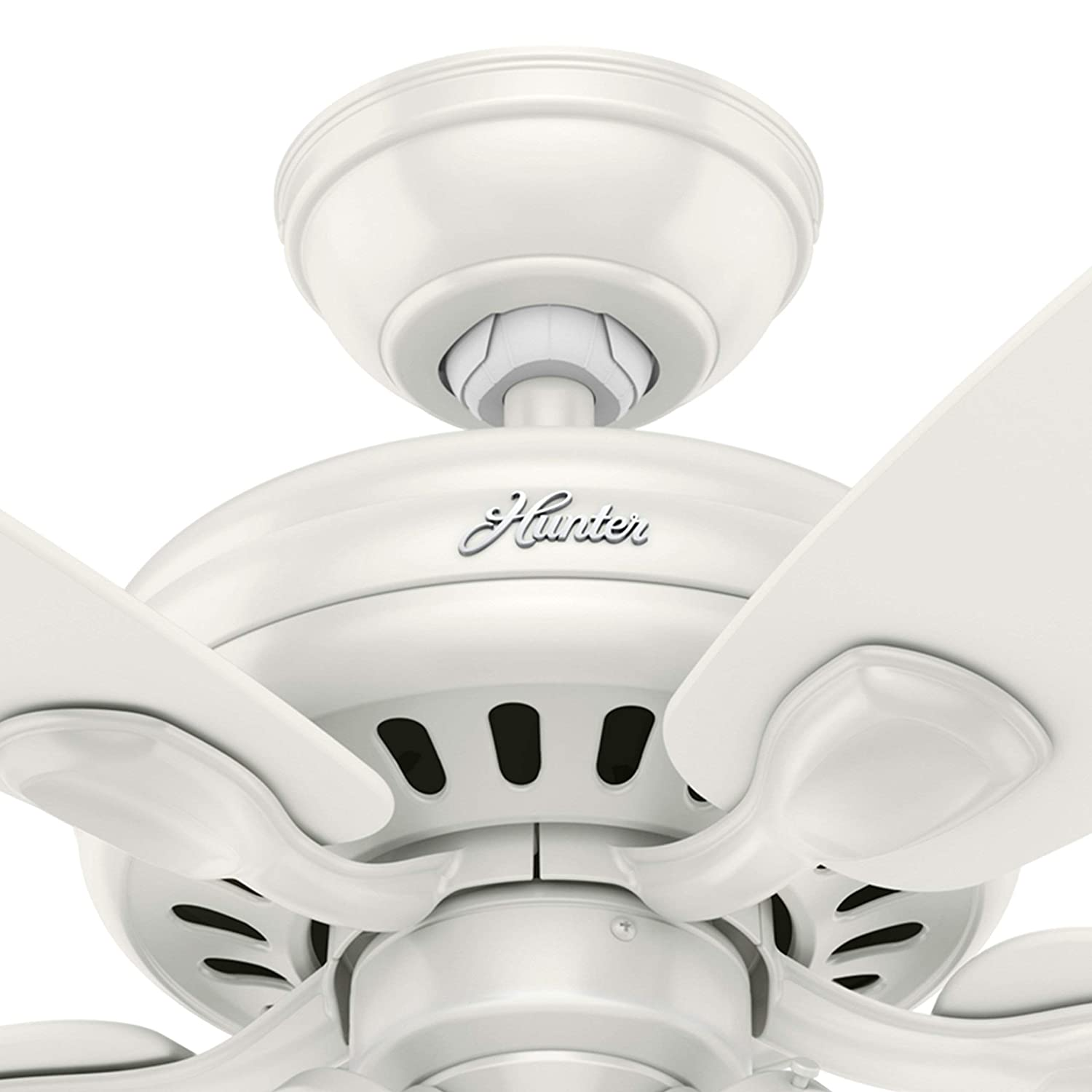 Hunter Fan 52 inch Brushed Nickel Ceiling Fan with Light and LED Bulbs Renewed Fresh White