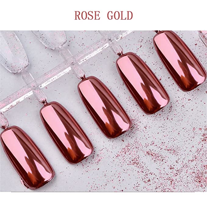 Nail Dip Powder Rose Gold Magic Mirror Chrome Glitter Holographic ...