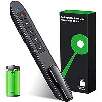 Presentation Clicker Laser Pointer, Wireless Presenter Remote with Green Laser Pointer, Rechargeable PowerPoint Clicker…