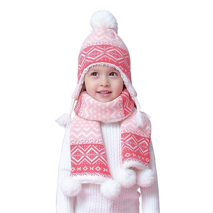 Bebè Bambine Sciarpa cappello lavorato a maglia termico Set 2 pezzi  invernali Bimba Ragazze 1- 3e1e5ff990ba