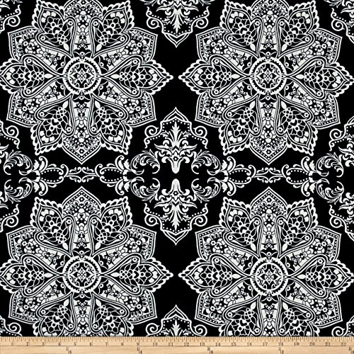 Neiman Brothers Mosaic Flower Stretch ITY Navy Ivory Fabric by The Yard (Medallion Stretch)