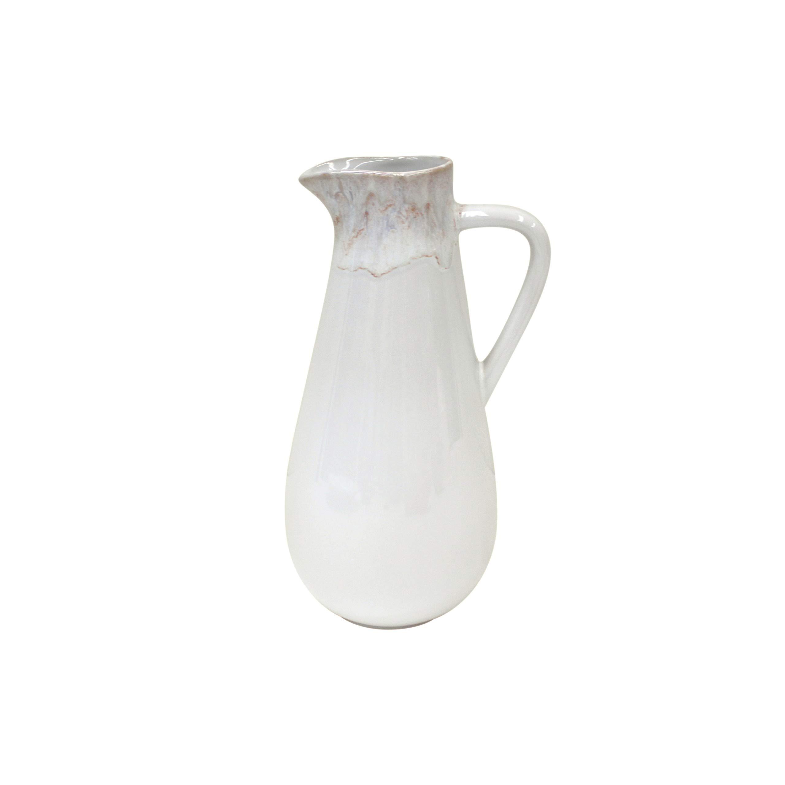 Casafina Taormina Collection Stoneware Ceramic Pitcher 56 oz, White