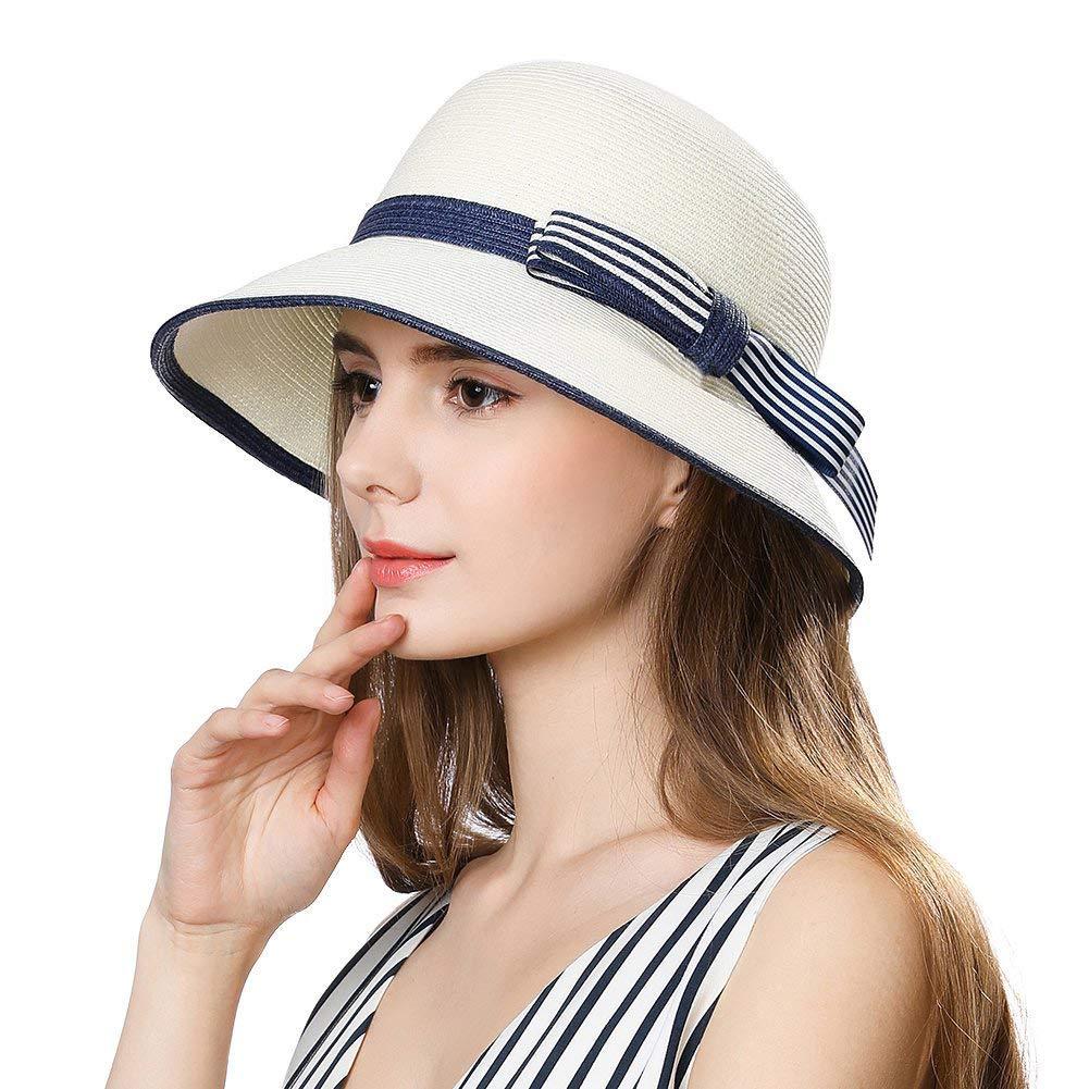 Mujer Sombrero Plegable De Paja de ala Ancha Panam/á Verano Sol Playa UV Moda