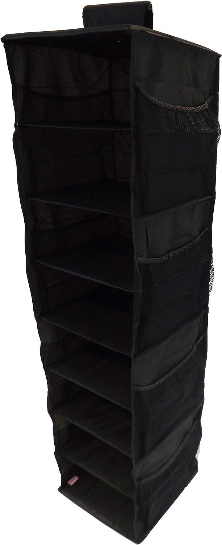 Neusu Armario Organizador Colgante Reforzado con Estantes +100 litros De Capacidad 30 cm x 30 cm x 125 cm - Azul 8 Estantes Y 8 Bolsillos Laterales Tejido 600D Fuerte