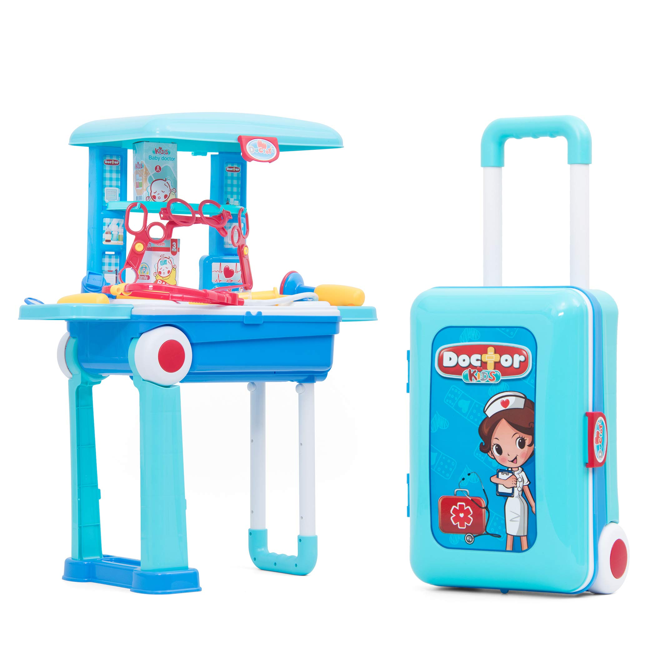 Fondear Portable Toy Play Set Cute Kitchen / Doctor / Tool Playset Fun Cooking Toy / Medical Kits / Bench Building for Toddlers (Doctor Playset)