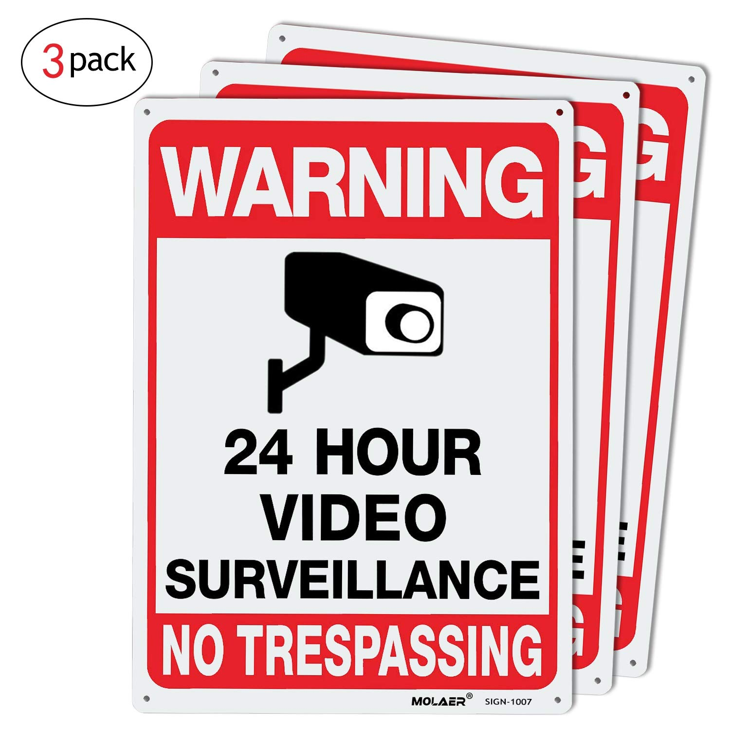 Video Surveillance Sign, MOLAER 3-Pack No Trespassing Signs, 10'' x 7'' UV Printed Waterproof Reflective 40 Aluminum Material, for Outdoor Security Camera Warning