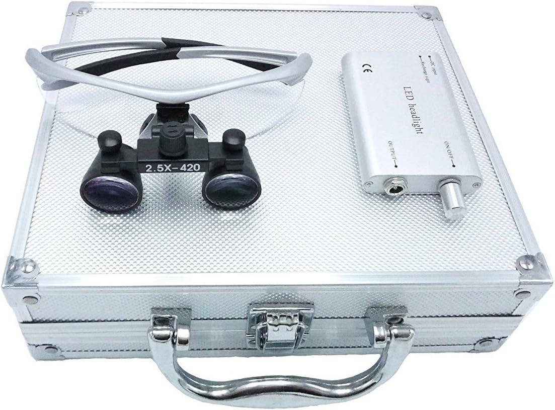 BoNew-Oral - Gafas ópticas de 2,5 × 420 mm con lupas prismáticas quirúrgicas médicas con faros LED de 3 W + caja de aluminio plateado