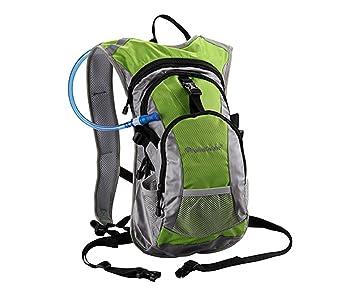 Mochila de Hidratacion de 10 L para Ciclismo IMPERMEABLE MTB + Bolsa Columna de Agua de 2 L COLOR VERDE 3744: Amazon.es: Deportes y aire libre