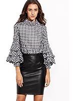 SheIn Women's Plaid High Neck Billow Sleeve Top Blouse