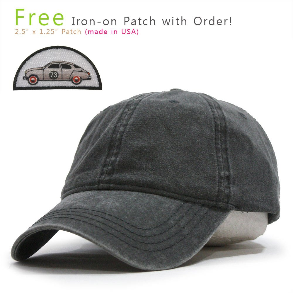 Vintage Washed Dyed Cotton Twill Low Profile Adjustable Baseball Cap (Charcoal Gray 73B)