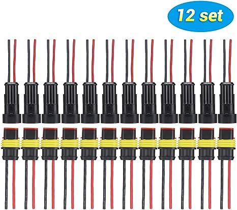 SUPAREE Ensemble de 12 Connecteurs Electriques Etanches /à 2 Broches pour Voiture avec Fil pour Voiture Moto Camion etc