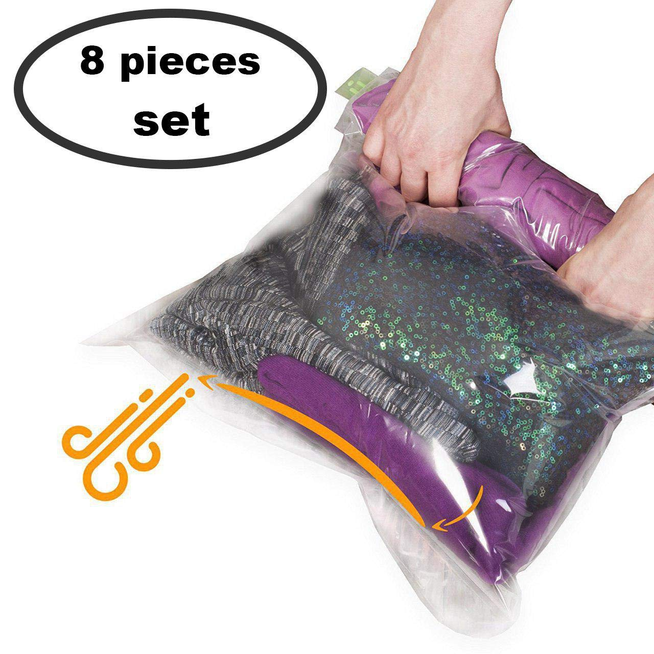 8 Travel Space Saver Bags - No Vacuum or Pump Needed - for Clothes - Reusable - Luggage Compression - Set of 4 L and 4 M Sacks - Transparent