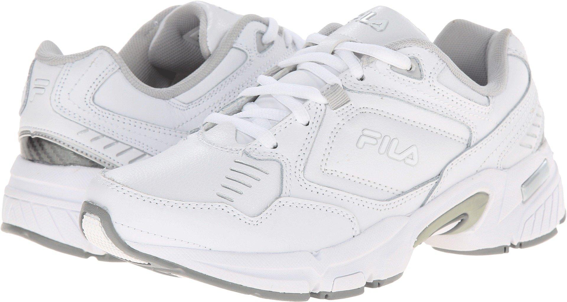 Fila Women's Memory Comfort Trainer Training Shoe,White/White/Silver,9 W US