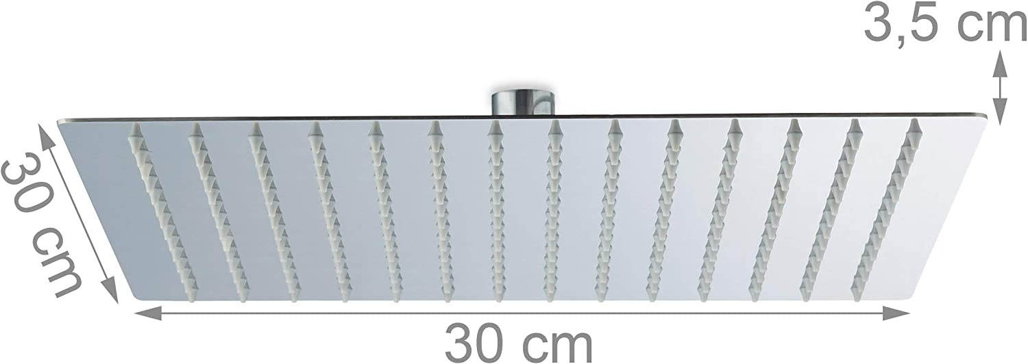 Relaxdays Square Rainfall Shower Head 1//2 Inch 200 mm Stainless Steel Silver Mirror Effect High Gloss