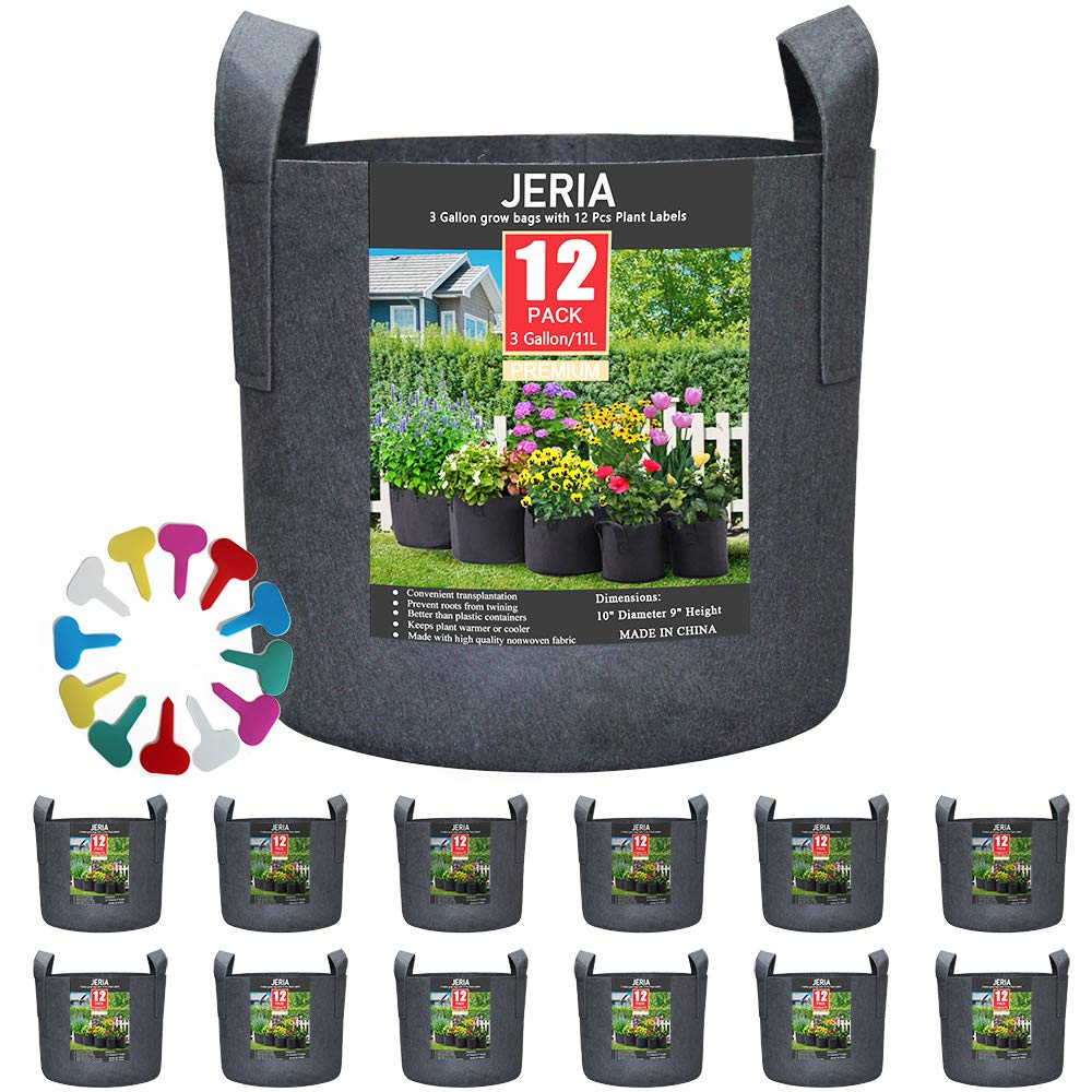JERIA 12-Pack 3 Gallon, Vegetable Flower Plant Grow Bags, Aeration Fabric Pots with Handles Black , Come with 12 Pcs Plant Labels