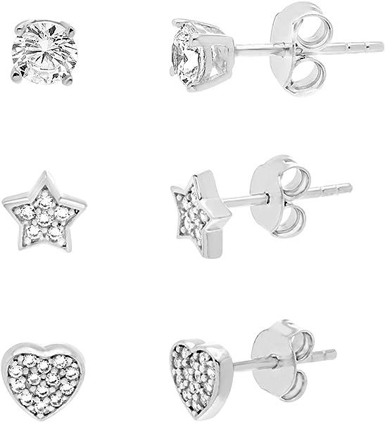 123280880 Sterling Silver RH CL CZ Heart & Star Trio Post Earrings (RH CL CZ Heart