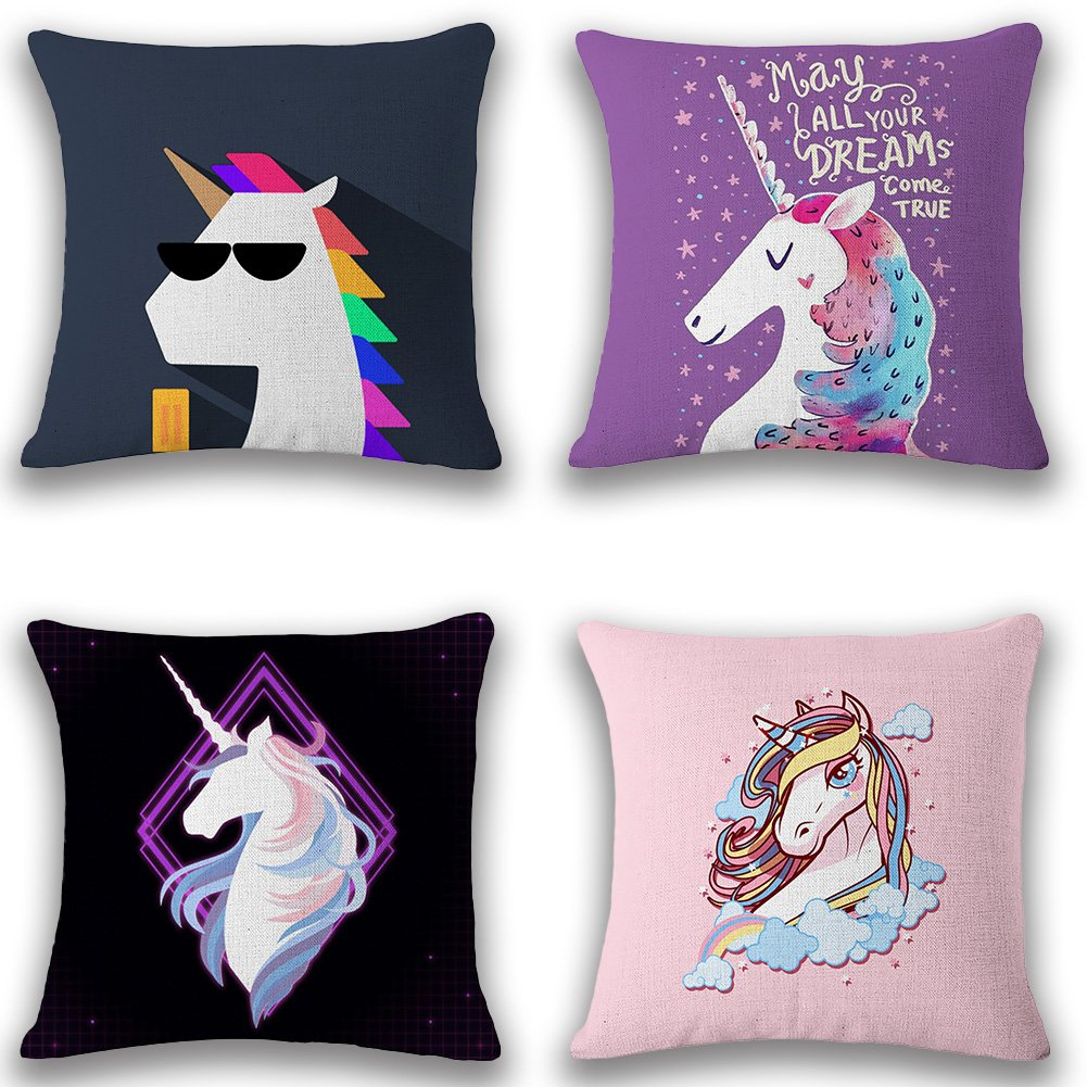 JOTOM Throw Pillow Covers for Couch Sofa Bed, Cotton Linen Square Decorative Cushion Covers 18'' x 18'', Pack of 4 - Unicorn