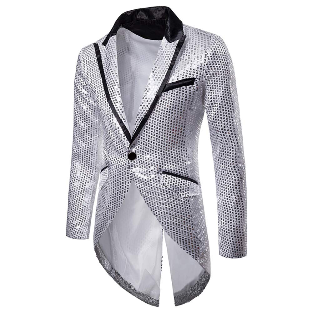 Cloudstyle Mens Sequin Tailcoat Swallowtail Suit Jacket Party Show Tux Dress Coat Silver by Cloudstyle