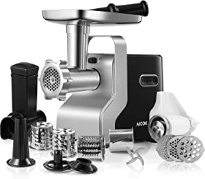 Electric Meat Grinder, 2500W Max Powerful AICOK MG2950R 5-IN-1 Meat Mincer with Sausage Stuffer, Vegetable Slicer, Tomato Juicer, Kubbe Kits, 3 Grinding Plates, 3-Speed, 10 Pounds/Min, FDA certified