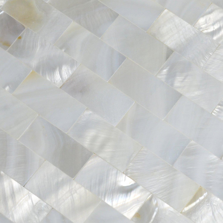 white mother of pearl tile shell mosaic tile kitchen backsplash