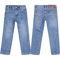 justfound4u Pantalones vaqueros de diseñador para niños, elásticos, cintura ajustable, color carbón, negro, azul y gris…