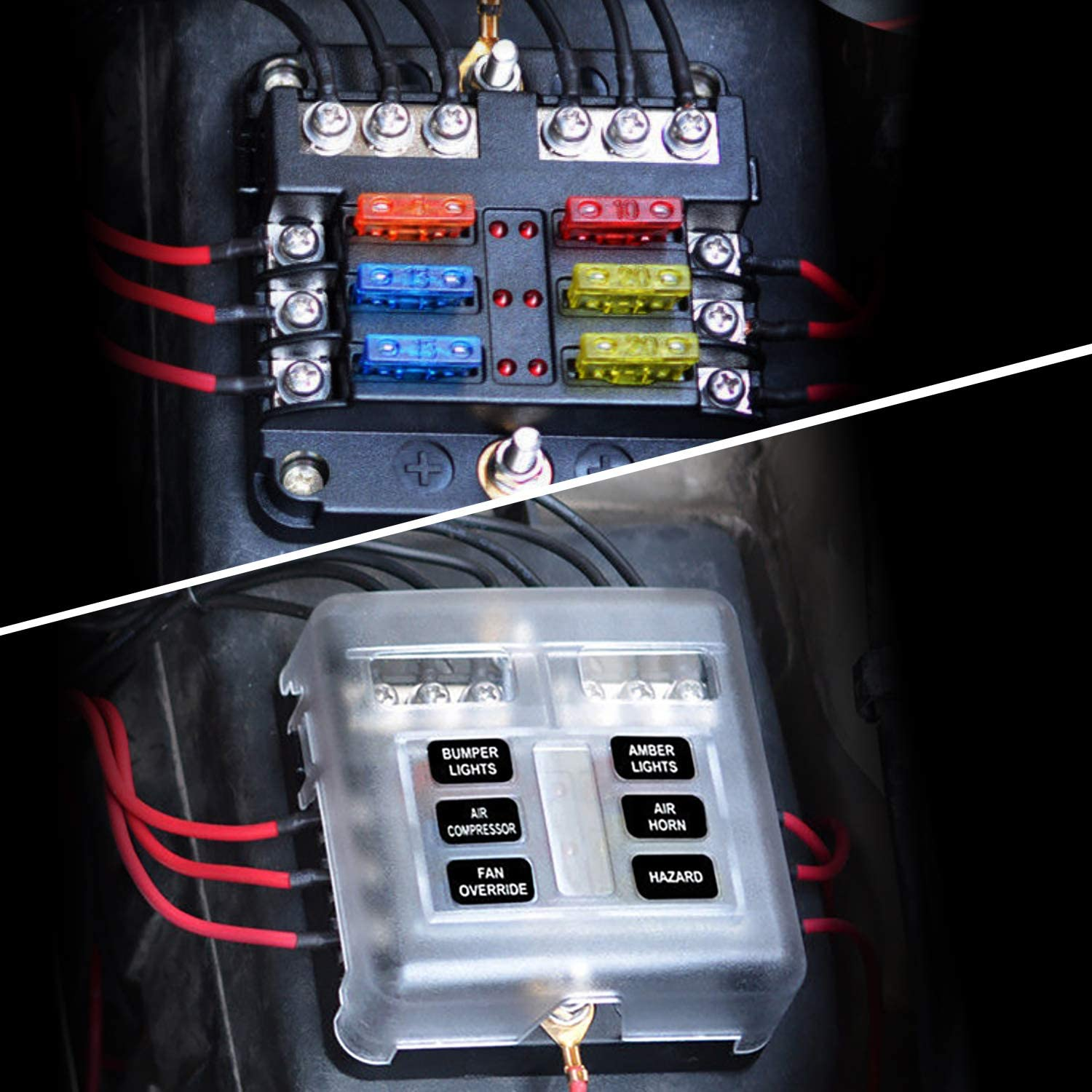Nilight 6 Way Blade Fuse Block 6 Circuits with Negative Bus Fuse Box Holder with LED Indicator ATO//ATC Fuse Panel Waterproof Cover for 12V Automotive Cars Marine Boats,RVs,Trailers,2 Years Warranty