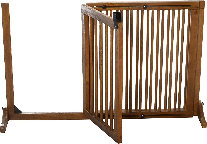 Pawhut Adjustable Wooden Pet Gate Freestanding Dog Barrier Fence Doorway 3 Panels Safety Gate w//Lockable Door Brown 71H x 113-166W cm