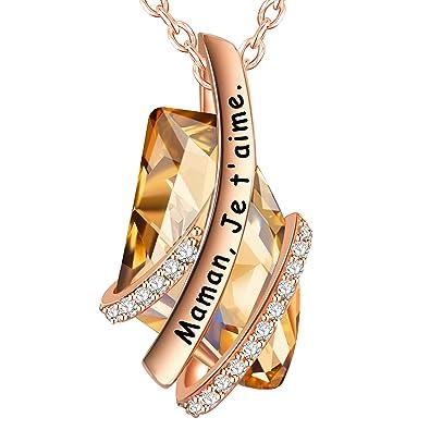 9dc4b49ba7506 ENGSWA Collier Femme Gravé Cristaux Asymétrique Pendentif Classique Cadeau  pour Maman