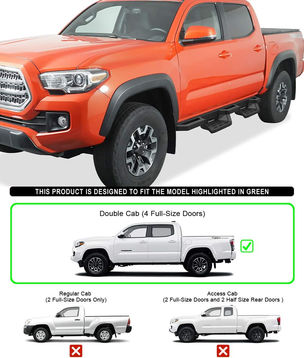 HD Ridez Aluminum Drop Steps Armor Compatible with Toyota Tacoma 2005-2021 Double Crew Cab Nerf Bar | Side Steps | Side Bars