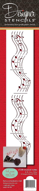 designer stencils C2128T Musical Notes Cake Stencil, 12
