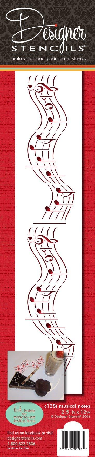 Designer Stencils C128T Musical Notes Cake Stencil, 12'', Beige/Semi-Transparent by Designer Stencils
