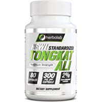 herbolab Tongkat Ali Root Extract - Better Than 200:1 - The Only Standardized Highly Concentrated on Amazon, 80 Vegetal Capsules 300mg (AKA Longjack, Eurycoma Longifolia, Malaysian Ginseng)