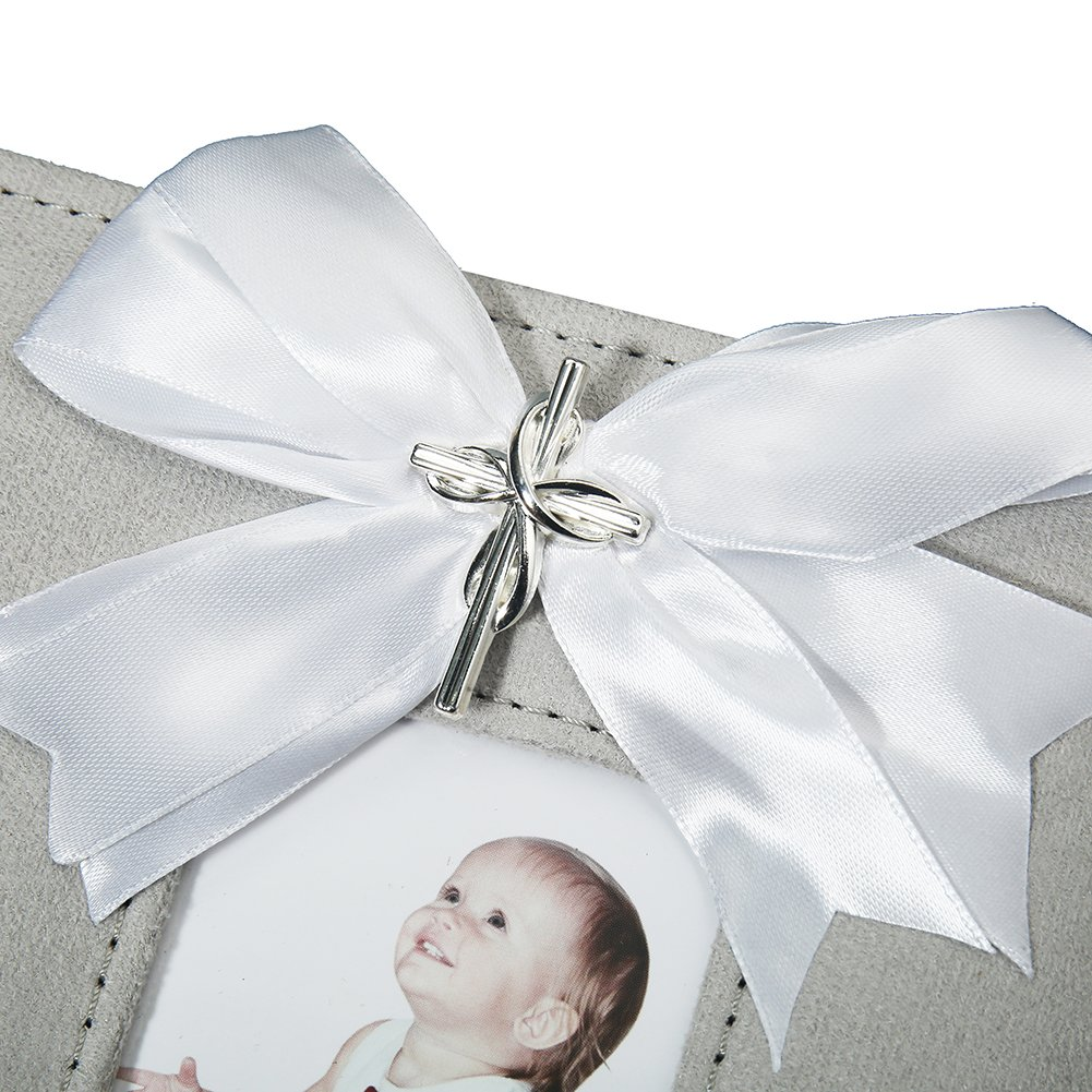Modali Baby Christening Baby /& Children Fine /& Elegant Photo Album with Ribbon and Beautiful Silver Cross 80 Pictures 4x6