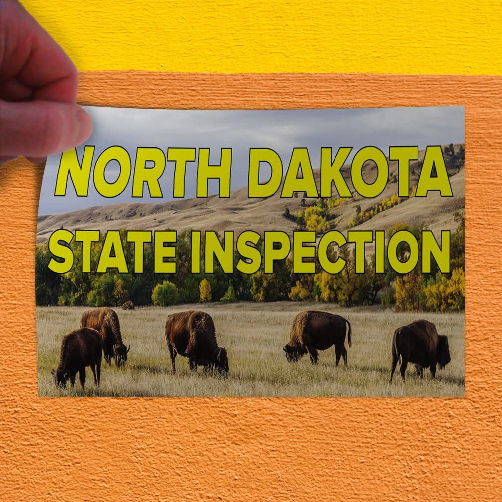 Set of 10 Decal Sticker Multiple Sizes North Dakota State Inspection Business North Dakota State Inspection Outdoor Store Sign Yellow 24inx16in