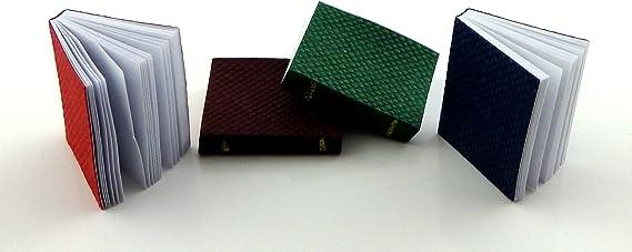 Juego de 4 libros encuadernados en miniatura para casa de mu/ñecas 5042