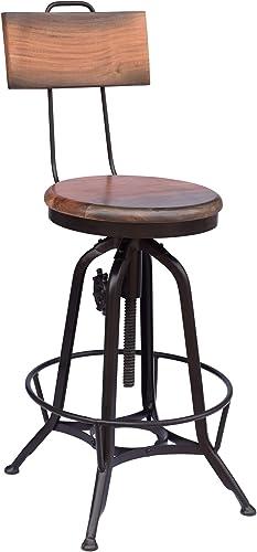 Great Deal Furniture Christal Modern Industrial Acacia Wood Bar Stool