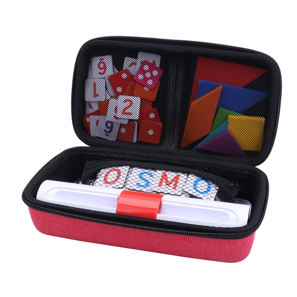 Aenllosi Storage Organizer Case for Osmo Genius Kit, fits OSMO Base/Starter/Numbers/Words/Tangram/Coding Awbie Game (for OSMO Genius Set, Red)