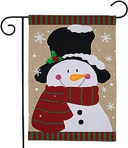 "Briarwood Lane Winter Snowman Burlap Garden Flag Top Hat Scarf 12.5"" x 18"""