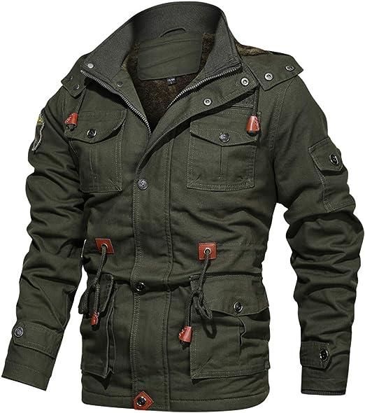 作業着 ファージャケット 裏起毛 フード付き メンズ 冬服 ワークスタイル レジャー 大きいサイズ ミリタリージャケット ミドル丈 アウトドア フライトジャケット ブルゾン アメカジ M-4XL カーキ 黒
