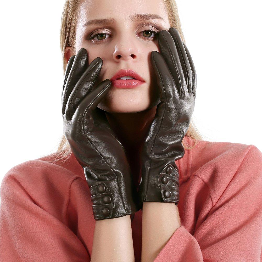 Women Touchscreen Leather Gloves Sheepskin Cashmere Lining Winter Warm Driving Gloves