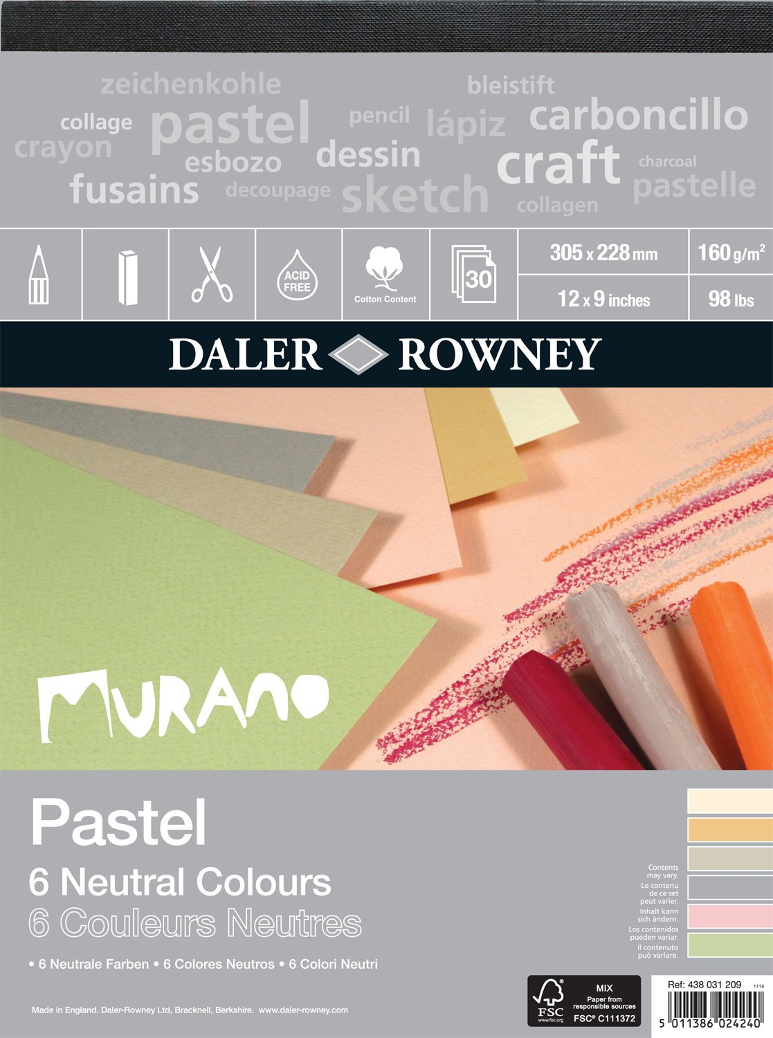 Murano Colored Pastel Paper - 9''x12'' 6 Neutral Colors 30 Sheet Pad