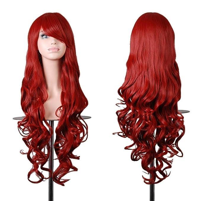 EmaxDesign de las pelucas 80cm calidad de alta largo completo de las mujeres pelo rizado pelo ondulado mechas prueba calor con pelo rulos libre peluca ...
